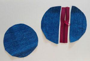 Einzelteile rundes Reißverschlusstäschchen